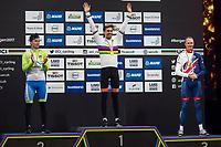 Sykkel VM / UCI 2017 Road worlds championships<br /> Men Elite Individual Time Trial<br /> 20.09.2017<br /> Bergen , Norway<br /> ROGLIC Primoz (L) , SLO<br /> Winner , DUMOULIN Tom (M) , NED<br /> FROOME Chris (R) , GBR<br /> Foto: Astrid M. Nordhaug
