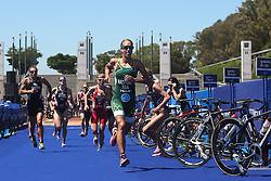 Anel Radford of South Africa leaves the transition area during the Elite Women race of the Discovery Triathlon World Cup Cape Town leg held at Green Point in Cape Town, South Africa on the 11th February 2017.<br /> <br /> Photo by Shaun Roy/RealTime Images
