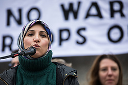London, UK. 11 January, 2020. Salma Yaqoob, human rights activist, addresses the No War on Iran demonstration in Trafalgar Square organised by Stop the War Coalition and the Campaign for Nuclear Disarmament to call for deescalation in the Middle East following the assassination by the United States of Iranian General Qassem Soleimani and the subsequent Iranian missile attack on US bases in Iraq.