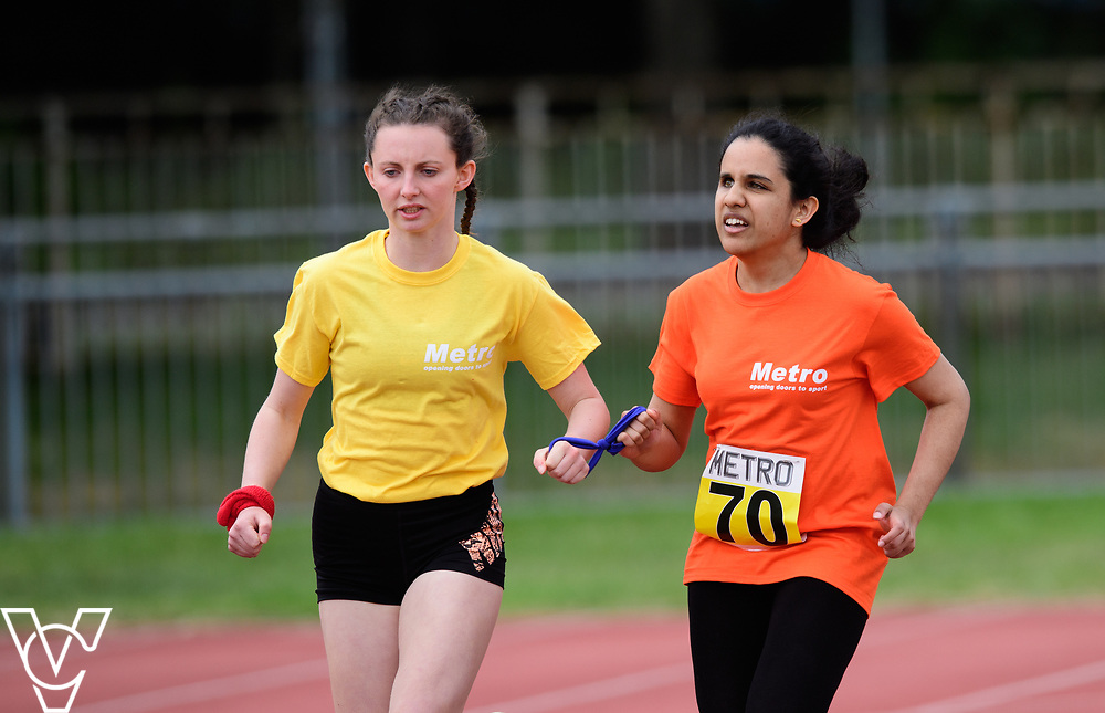 Event: 200 meters<br /> Competitors, from left: Harshadha Balasubramanian<br /> <br /> Metro Blind Sport's 42nd Athletics Open, held at Mile End Stadium, Tower Hamlets, London.<br /> <br /> Picture: Chris Vaughan Photography for Metro Blind Sports<br /> Date: June 16, 2018