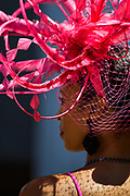 30174108A LOUISVILLE, KY. - MAY 1, 2015: Chrystal Hawkins, of Louisville, looks on during the 141st running of the Kentucky Oaks at Churchill Downs.<br /> <br /> William DeShazer for The New York Times