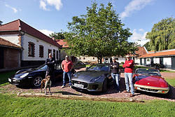 05 Sept 2019. St Denoeux, Pas de Calais, France.<br /> Messing about with cars. With Rob, Chris and Simon and Mark with the Porsche Boxter, Jaguar F Type and Lotus Elan Sprint at Festina Lente Gîtes. Donut the dog puts in a modelling appearance.<br /> Photo©; Charlie Varley/varleypix.com