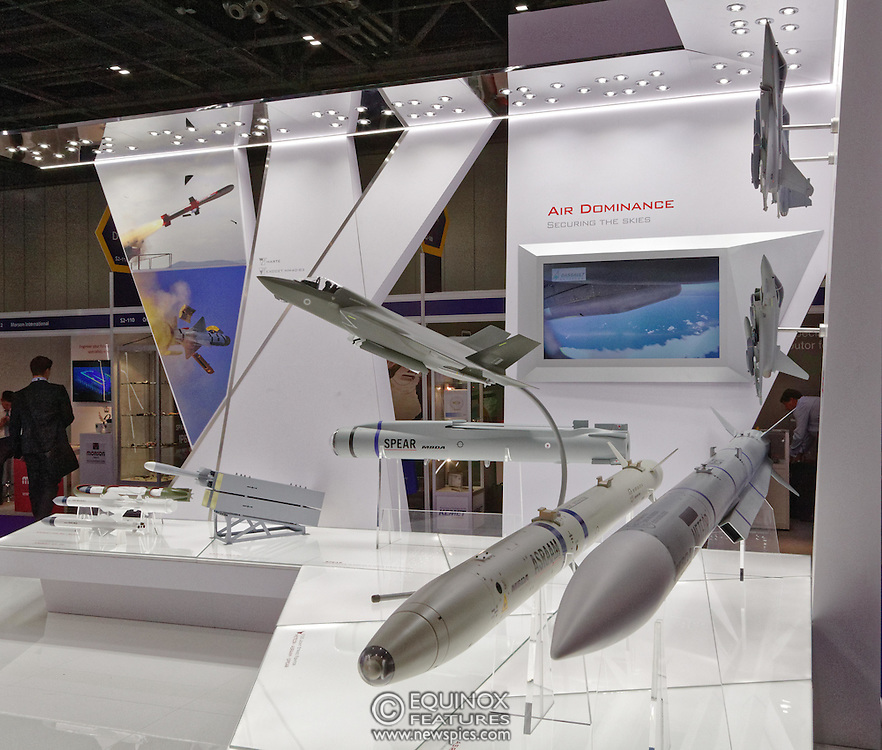 London, United Kingdom - 18 September 2015<br /> Missile manufacturer MBDA display their products including the ASRAAM air to air missile, a variant of which has just been ordered by the Ministry of Defence in a £300m contract, at the defence and security exhibition DSEI at ExCeL, Woolwich, London, England, UK.<br /> (photo by: EQUINOXFEATURES.COM)<br /> <br /> Picture Data:<br /> Photographer: Equinox Features<br /> Copyright: ©2015 Equinox Licensing Ltd. +448700 780000<br /> Contact: Equinox Features<br /> Date Taken: 20150918<br /> Time Taken: 13032607<br /> www.newspics.com