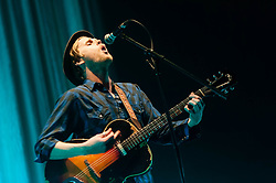 © Licensed to London News Pictures. 11/03/2013. London, UK.   Wesley Schultz of The Lumineers performing live at O2 Brixton Academy. The Lumineers are an American folk rock band, based in Denver, Colorado, comprising of Wesley Schultz (lead vocals, guitar), Jeremiah Fraites (drums, percussion), Neyla Pekarek (cello, vocals), Stelth Ulvang (piano), and Ben Wahamaki (bass).   Photo credit : Richard Isaac/LNP
