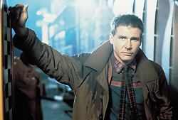 FILM TITLE:  BLADE RUNNER. DIRECTOR:  Ridley Scott.  STUDIO:  WARNER BROS.<br /> PLOT:    In a cyberpunk vision of the future, man has developed the technology to create replicants: human clones with fixed lifespans created to serve in the colonies outside Earth.   In Los Angeles 2019, world-weary, semi-retired cop, Rick Deckard (Ford), is a Blade Runner, a cop who specialises in terminating replicants.  When four android replicants escape from an off-World colony and return to Earth, a reluctant Deckard is called back to duty.   PICTURED:  HARRISON FORD.   (Credit Image: © LADD COMPANY/Entertainment Pictures/ZUMAPRESS.com)