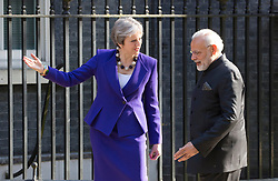 UK Prime Minister Theresa May welcomes Indian Prime Minister Narendra Modi to Downing Street. Picture dated: Wednesday April 18, 2018