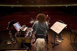 Mark Applebaum performance at Stanford's Dinkerspiel Auditorium.