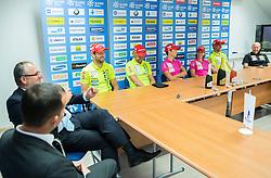 Jakov Fak, Klemen Bauer, Teja Gregorin, Andreja Mali and Lenart Oblak during press conference of Slovenian Biathlon Team after medals at IBU Summer Biathlon World Championships in Tyumen (Russia) on August 26, 2014 in SZS, Ljubljana, Slovenia. Photo by Vid Ponikvar / Sportida