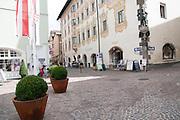 Austria, Tyrol, Schwaz. Town hall in Franz Josef pedestrian Street in the old town
