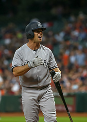 April 30, 2018 - Houston, TX, U.S. - HOUSTON, TX - APRIL 30:  New York Yankees left fielder Brett Gardner (11) reacts after striking out in the top of the sixth inning during the baseball game between the New York Yankees and Houston Astros on April 30, 2018 at Minute Maid Park in Houston, Texas.  (Photo by Leslie Plaza Johnson/Icon Sportswire) (Credit Image: © Leslie Plaza Johnson/Icon SMI via ZUMA Press)