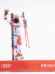 Second placed Michelle Gisin (SUI) celebrates during 2nd Run of Ladies' Giant Slalom at 57th Golden Fox event at Audi FIS Ski World Cup 2020/21, on January 17, 2021 in Podkoren, Kranjska Gora, Slovenia. Photo by Vid Ponikvar / Sportida