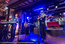 """Quintessential biker band """"The Fryed Brothers"""" plays the Knucle Saloon during the 75th Annual Sturgis Black Hills Motorcycle Rally.  SD, USA.  August 7, 2015.  Photography ©2015 Michael Lichter."""