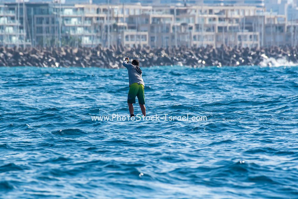 paddle boarding in the Mediterranean Sea, Israel