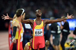 Darwin Echeverry of Spain celebrates a fifth place finish - Mandatory byline: Patrick Khachfe/JMP - 07966 386802 - 13/08/2017 - ATHLETICS - London Stadium - London, England - Men's 4x400m Metres Relay Final - IAAF World Championships