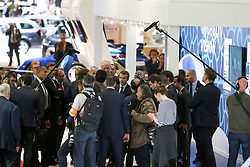 October 3, 2018 - Paris, Ile-de-France, France - French President Emmanuel Macron (C) visits the France-based multinational automotive supplier Valeo during an official visit at the Paris auto show in Paris, on October 3,  2018. From October 4 - October 14, the famous motor show will showcase new cars and products from major motoring manufacturers. (Credit Image: © Michel Stoupak/NurPhoto/ZUMA Press)