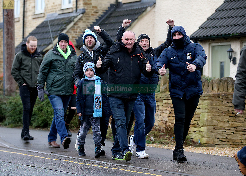 Coventry City fans and Forest Green Rovers fans make their way to The New Lawn