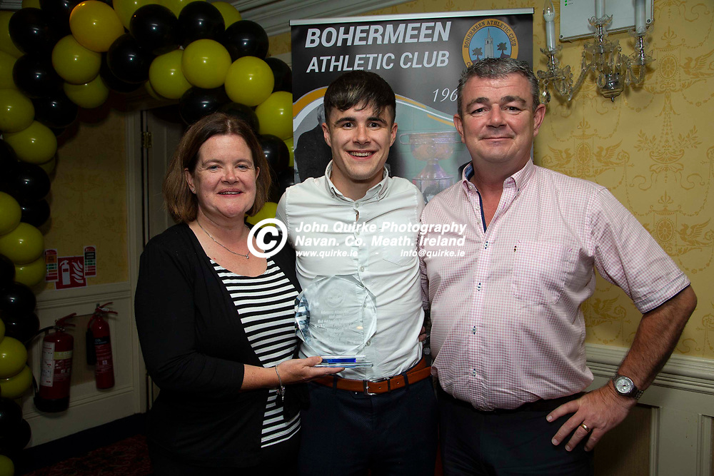 27/10/2019, Bohermeen Athletic Club 50th Anniversary celebration at the Ardboyne Hotel, Navan.<br /> Kevin McGrath (winner of the most outstanding performance award) pictured with his parents, Paula & Eamonn.<br /> Photo: David Mullen / www.quirke.ie ©John Quirke Photography, Unit 17, Blackcastle Shopping Cte. Navan. Co. Meath. 046-9079044 / 087-2579454.<br /> ISO: 400; Shutter: 1/200; Aperture: 6.3; <br /> File Size: 2.5MB