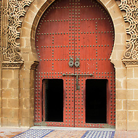 Africa, Morocco, Meknes. Gate to Mausoleum of Moulay Ismail.