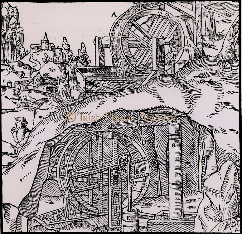Raising water from a mine using two sets of overshot water wheels and suction pumps.  From 'De re metallica', by Agricola, pseudonym of Georg Bauer (Basle, 1556).  Woodcut.