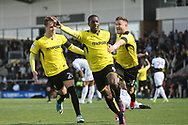 Burton Albion's Marvin Sordell celebrates scoring the Brewers first goal during the EFL Sky Bet Championship match between Burton Albion and Leeds United at the Pirelli Stadium, Burton upon Trent, England on 22 April 2017. Photo by John Potts.