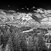 The Teton Range seen from a wintery Snake River overlook viewpoint.