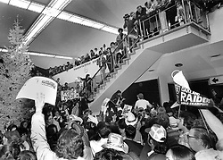 Oakland Raider fans crowd the Oakland Airport to greet the Raiders return after wining playoff game in Clevland.(Jan 4, 1981 photo by Ron Riesterer)