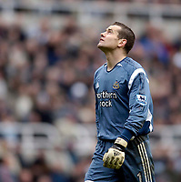 Photo: Jed Wee.<br /> Newcastle United v Liverpool. The Barclays Premiership. 19/03/2006.<br /> <br /> A disappointed Shay Given looks to the heavens for help as despite two excellent saves he is helpless to prevent Newcastle losing to Liverpool.