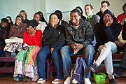 An audience enjoying a dress rehearsal of 'No Monkey Business' by AREPP: Theatre for Life production providing interactive social life skills education to schoolchildren through theatre productions. They are based in Johannesburg, South Africa and are about to go on tour for 3 months doing performances everyday at schools across the country.