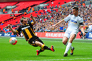Jimmy Oates of Hereford FC crosses during the FA Vase match between Hereford FC and Morpeth Town at Wembley Stadium, London, England on 22 May 2016. Photo by Mike Sheridan.