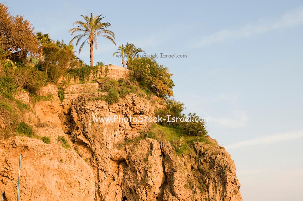 Turkey, Antalya close-up of the cliff at Antalya Bay under the Talya Hotel April 2009