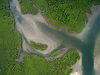 Mangrove lined estuary at Boca Grande, <br />Coiba Island<br />Coiba National Park<br />Panama
