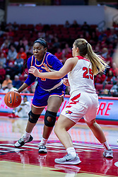NORMAL, IL - January 05: Jada Poland defended by Lexi Wallen during a college women's basketball game between the ISU Redbirds and the Purple Aces of University of Evansville January 05 2020 at Redbird Arena in Normal, IL. (Photo by Alan Look)