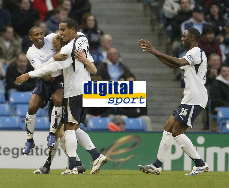 Photo: Aidan Ellis.<br /> Manchester City v Tottenham Hotspur. The Barclays Premiership. 17/12/2006.<br /> Spurs Calum Davenport is mobbed by Jermain Defoe and Tom Huddlestone after scoring the first goal
