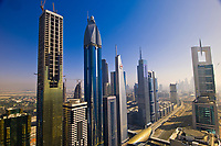 Overview of buildings on Sheik Zayed Road from the Sheraton Four Points Hotel, Dubai, United Arab Emirates