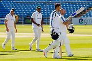 Tom Kohler-Cadmore & Adam Lyth leave the field at the end of the Bob Willis Trophy match between Yorkshire County Cricket Club and Leicestershire County Cricket Club at Emerald Headingley Stadium, Leeds, United Kingdom on 9 September 2020.