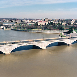 Aerial view of the Memorial Bridge over the Potomac River in Washington DC