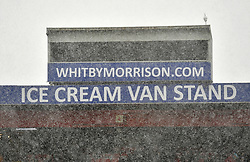 A general view of the Ice Cream Van stand in the snow