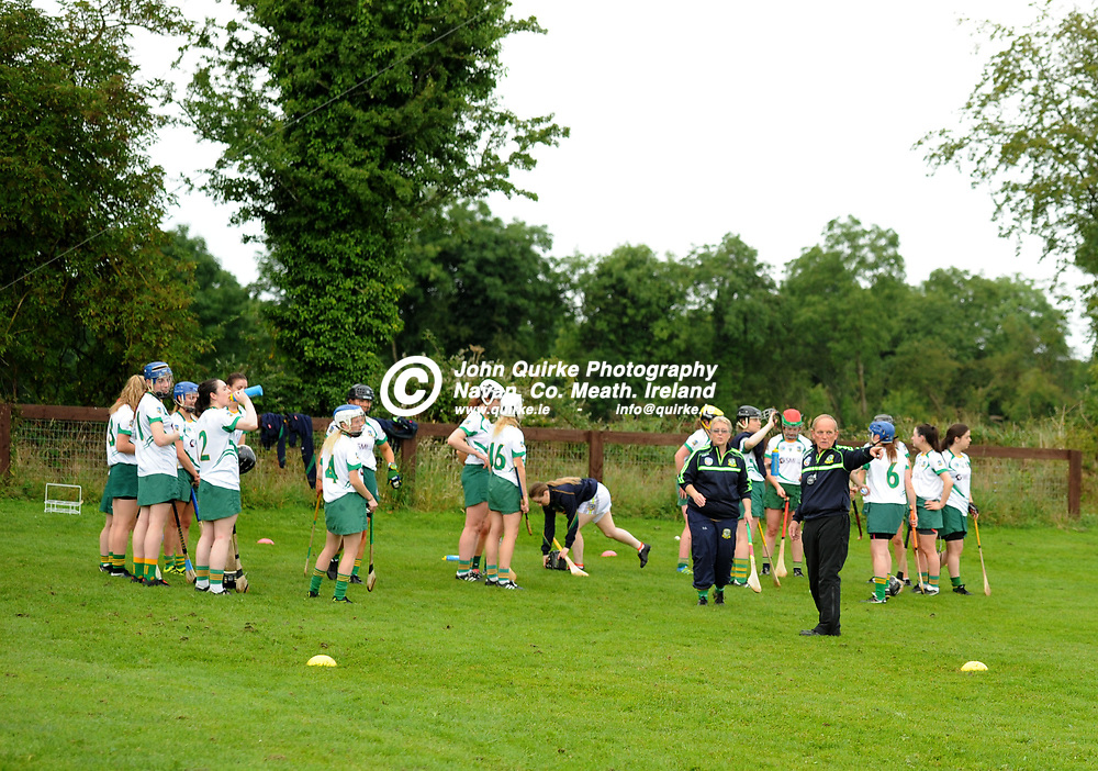 """14-07-17. Meath Camogie """"Meet and Greet"""" at Drumree.<br /> Meath Camogie Manager John Davis taking charge of a demonstration training session.<br /> Photo: John Quirke / www.quirke.ie<br /> ©John Quirke Photography, Unit 17, Blackcastle Shopping Cte. Navan. Co. Meath. 046-9079044 / 087-2579454."""