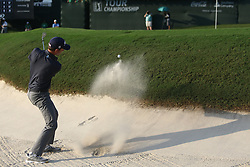September 23, 2017 - Atlanta, Georgia, United States - Webb Simpson hits out of a greenside bunker on the 18th hole during the third round of the TOUR Championship at the East Lake Club. (Credit Image: © Debby Wong via ZUMA Wire)