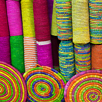 Africa, Morocco, Marrakech. Colorful Baskets of Morocco.