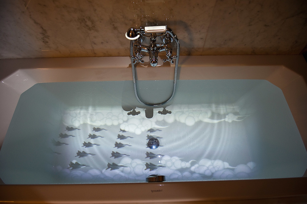 VENICE, ITALY - JUNE 02:  A video installation projected in a bath tub  part of the  Future Pass exhibition on June 2, 2011 in Venice, Italy. The Venice Art Biennale will run from June 4 to November 27, 2011.