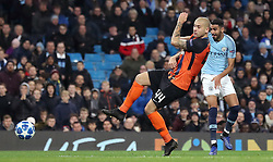 Manchester City's Riyad Mahrez scores his side's fifth goal of the game during the UEFA Champions League match at the Etihad Stadium, Manchester.