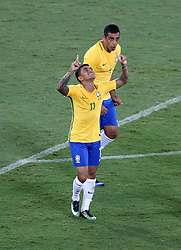 RIO DE JANEIRO, Jan. 26, 2017  Dudu (L) of Brazil celebrates his goal during a friendly match between Brazil and Colombia at the Engenhao Stadium in Rio de Janeiro, Brazil, Jan. 25, 2017. All the net income of the match will be passed on to the Chapecoense Football Association. (Credit Image: © Li Ming/Xinhua via ZUMA Wire)
