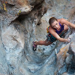 Bree McConnochie Climbing Groove Tube, 5.9, Fire Wall, Tonsai, Krabi, Thailand