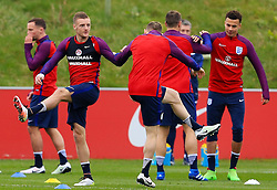 England's Jamie Vardy (Leicester City) warms up with his team mates - Mandatory byline: Matt McNulty/JMP - 22/03/2016 - FOOTBALL - St George's Park - Burton Upon Trent, England - Germany v England - International Friendly - England Training and Press Conference