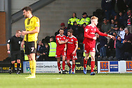 Accrington Stanley midfielder Sean McConville (11) scores a goal and celebrates1-0 during the EFL Sky Bet League 1 match between Burton Albion and Accrington Stanley at the Pirelli Stadium, Burton upon Trent, England on 23 March 2019.