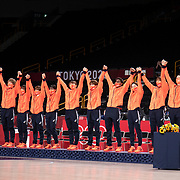 TOKYO, JAPAN August 8:  The Japanese team on the podium to receive their silver medals at the medal presentation ceremony after the Japan V USA basketball final for women at the Saitama Super Arena during the Tokyo 2020 Summer Olympic Games on August 8, 2021 in Tokyo, Japan. (Photo by Tim Clayton/Corbis via Getty Images)