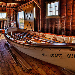 Boat in the US Lifesaving Station at Race Point Beach in the Cape Cod National Seashore in Provincetown, Massachusetts. HDR.