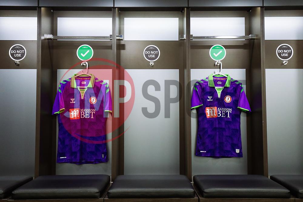 Bristol City's new 2020/21 purple and lime Away Match Shirt hangs in the home dressing room ahead of the game - Rogan/JMP - 21/08/2020 - Ashton Gate Stadium - Bristol, England - Bristol City v Cheltenham Town - Pre Season Friendly.