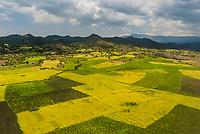 Aerial view, farming areas near Lalibela, Ethiopia.